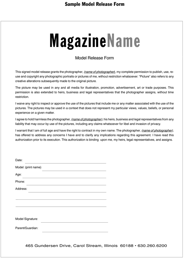 Magazine Training International  Blog Archive Model Release Form