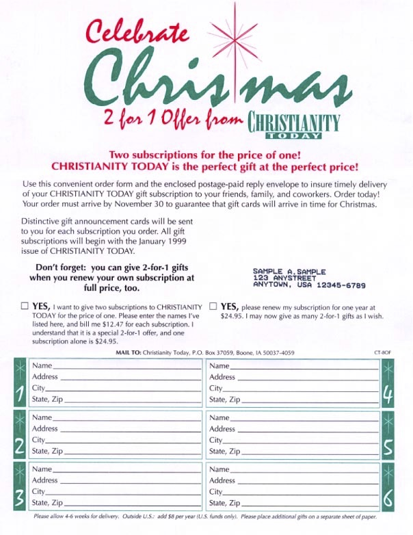 Christmas gift subscription solicitations