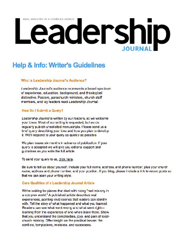 writer's guidelines